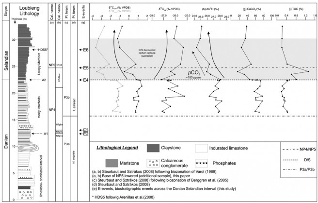 High-resolution geochemistry, carbon isotope, oxygen isotope, Δ13C and biostratigraphy across the Danian–Selandian boundary in the Loubieng section