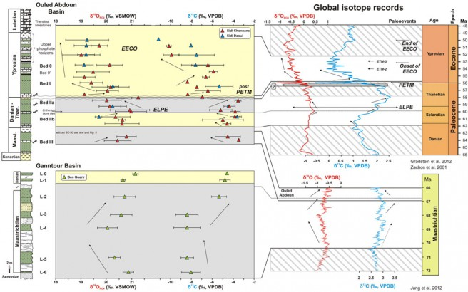 Integrated phosphate oxygen (δ18OPO4) and carbon δ13C (dentine) isotope data from the Ouled Abdoun and Ganntour basins and their comparison to the global record