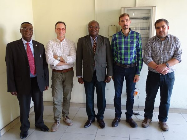 01 The Belgian team invited at the Ministry of Scientific Research and Technology in Kinshasa (from left to right: Valentin Kanda Nkula, General Director of CRGM; Thierry De Putter, Head of Service Geodynamic and Resources RMCA; Florimond Nyamoga Kabanda, Minister's chief of staff; Thierry Smith, Coordinator PalEurAfrica Project, RBINS; Florias Mees, Curator of Geology-Paleontology collections RMCA)
