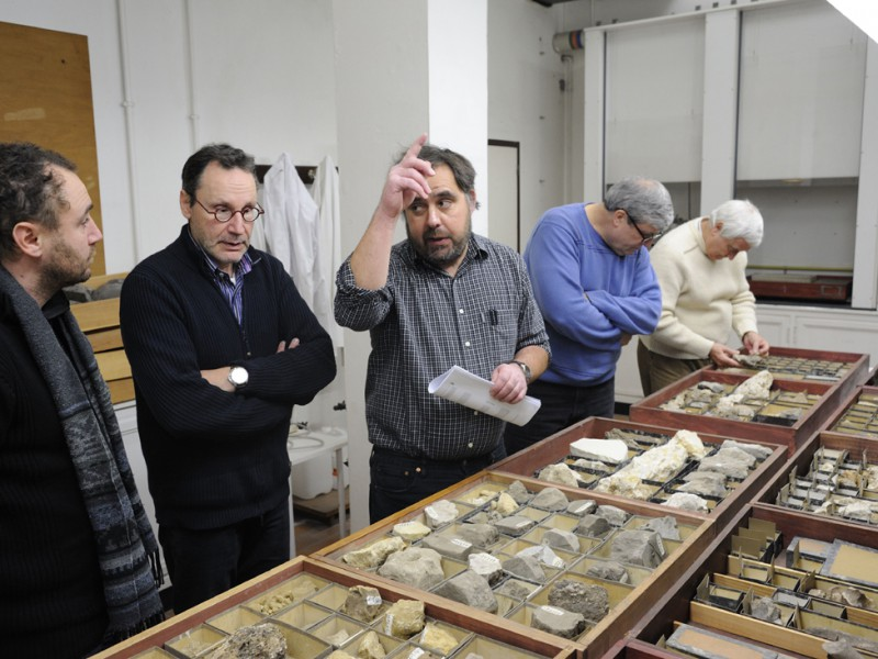 01 Working session at RMCA (Tervuren) around rock sample collections collected by E. Dartevelle; from left to right: Johan Yans (UNamur), Thierry De Putter & Florias Mees (RMCA), Gregg Gunnell (Duke Univ.) and Louis Taverne (RBINS)